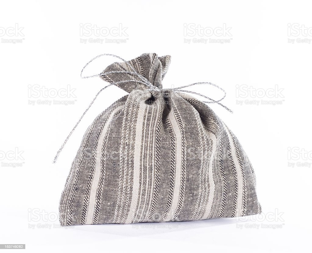 Traditional style linen gift bag royalty-free stock photo