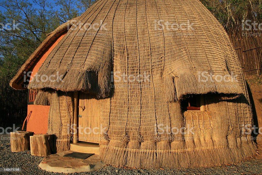 Traditional Swazi Hut stock photo
