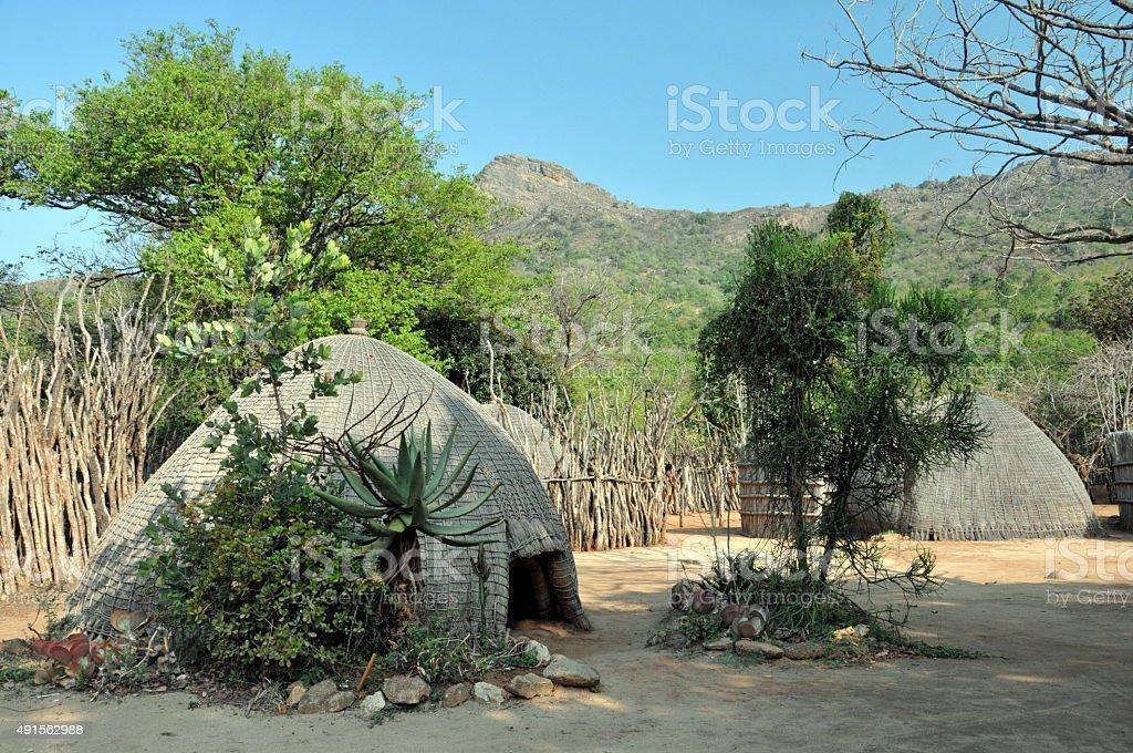 Traditional Swazi village Swaziland stock photo