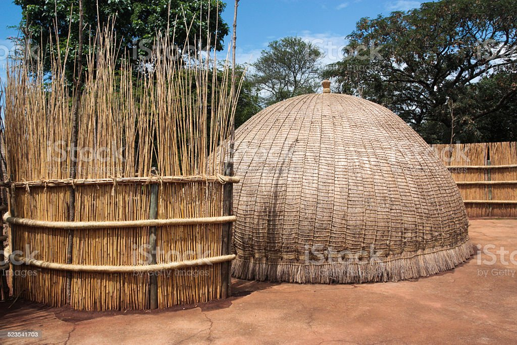 Traditional Swaziland Huts stock photo
