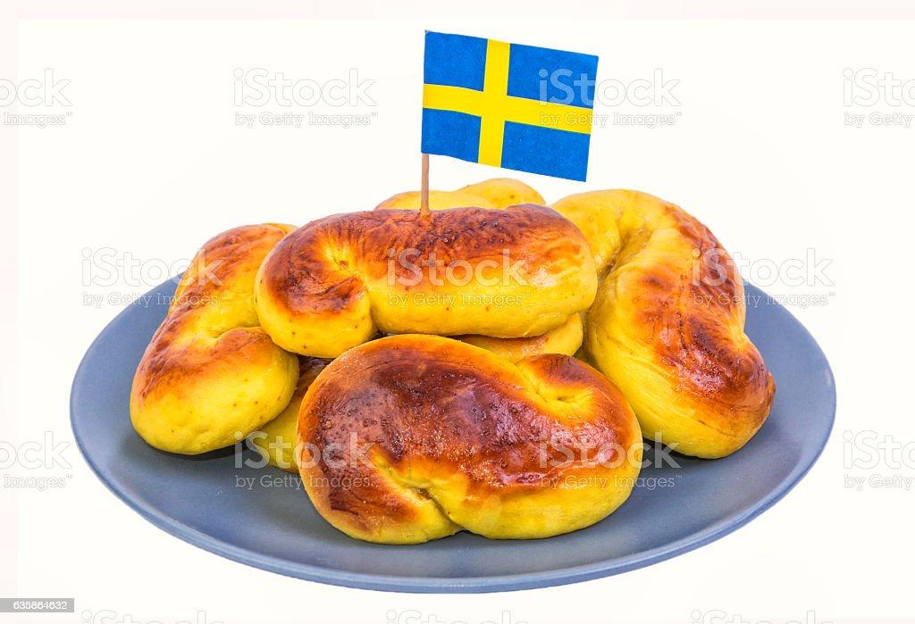 Traditional Swedish saffron cakes stock photo