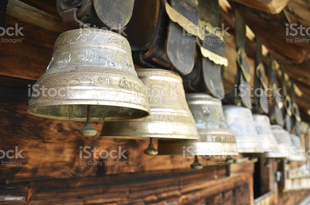 Traditional Swiss cowbells stock photo