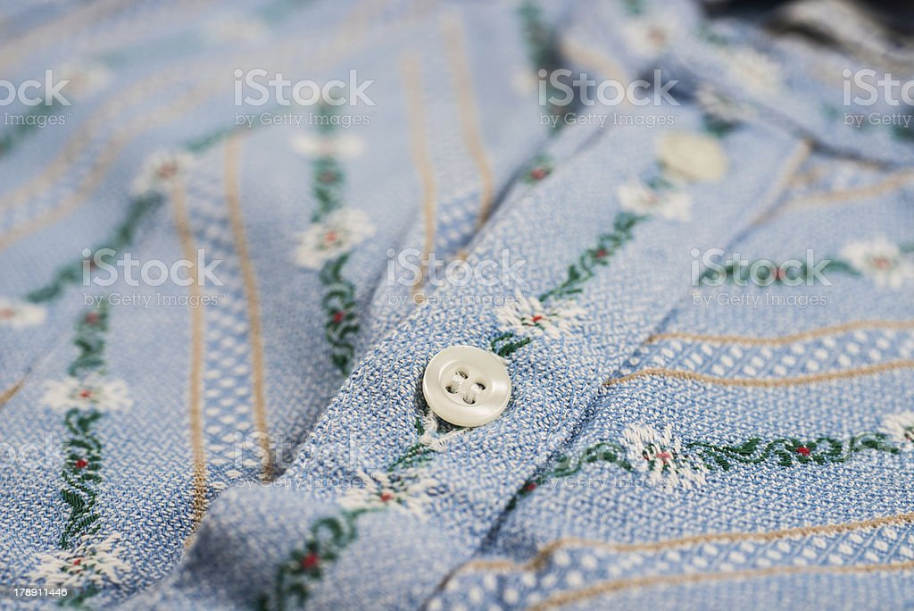 traditional Swiss Edelweiss shirt textile stock photo