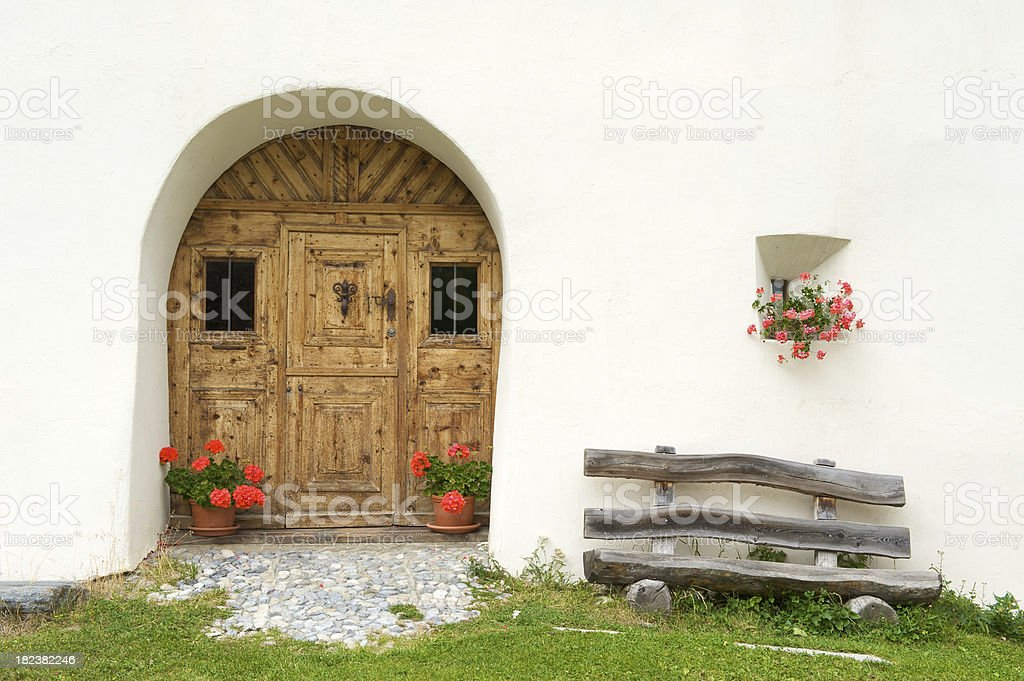 Traditional Swiss house entrance royalty-free stock photo
