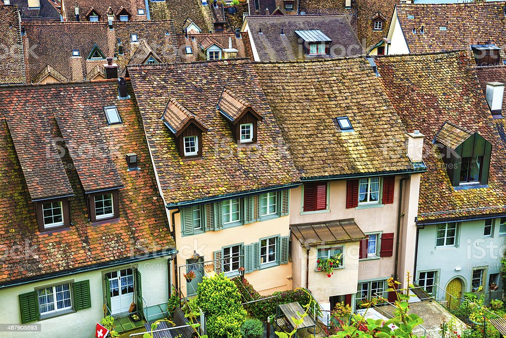 Traditional Swiss Houses in the City of Bern royalty-free stock photo