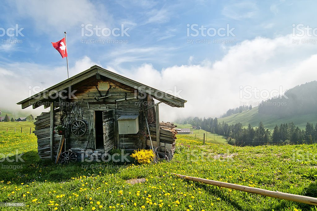Traditional Swiss hut stock photo