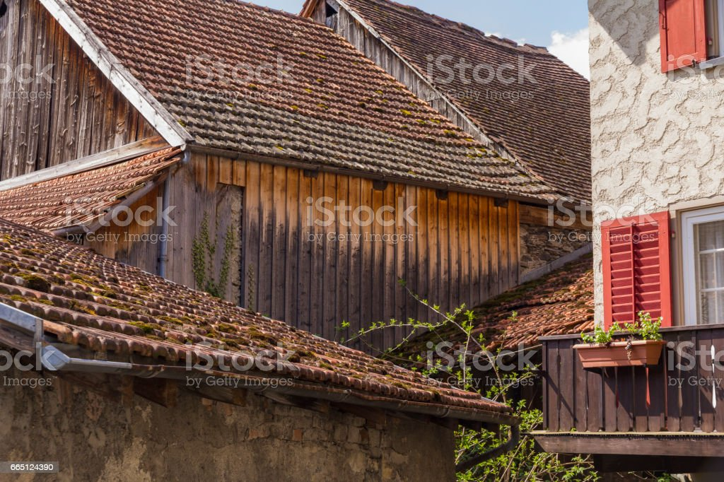 traditional swiss roofs stock photo