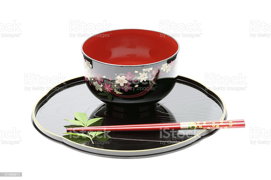 Traditional tableware of Japan, chopsticks and bowl royalty-free stock photo