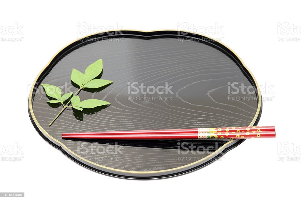 Traditional tableware of Japan, chopsticks and tray royalty-free stock photo