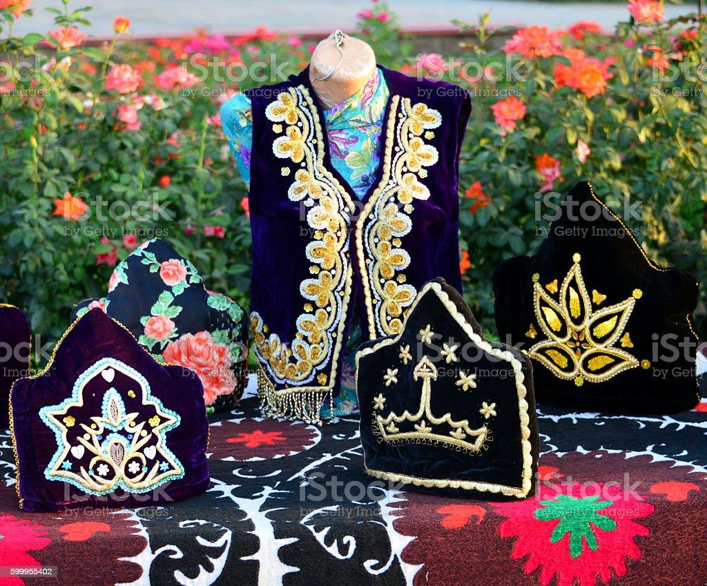 Traditional Tajik textiles, Dushanbe, Tajikistan stock photo