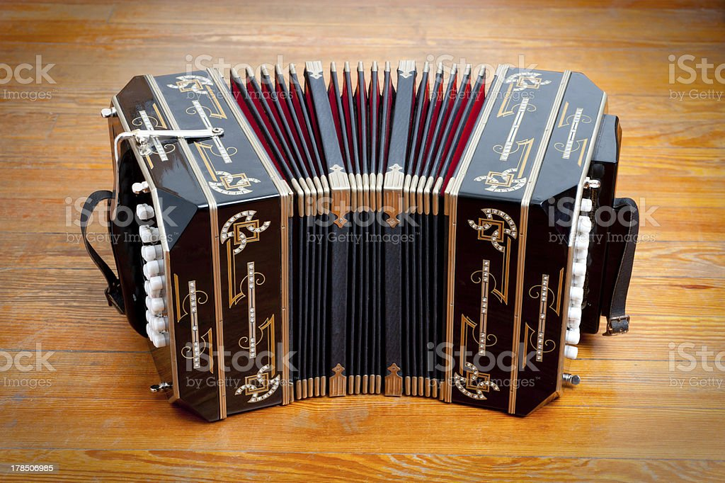 Traditional tango musical instrument, called bandoneon. stock photo