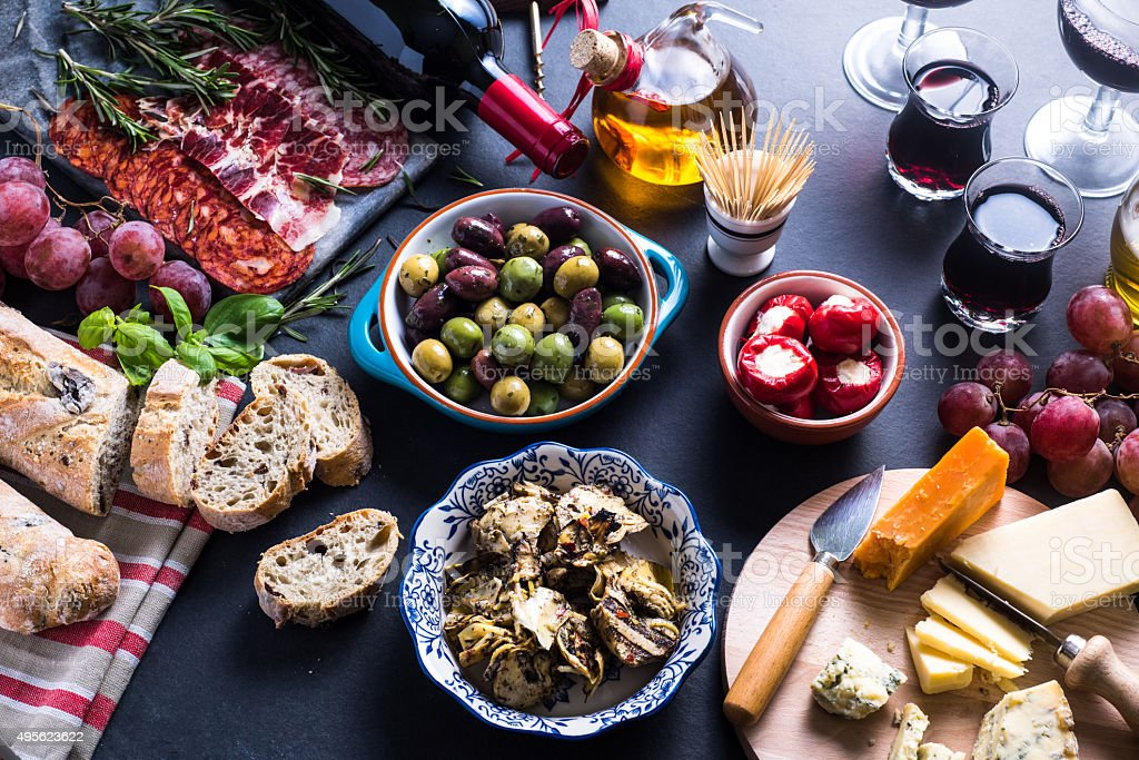 Traditional tapas selection stock photo