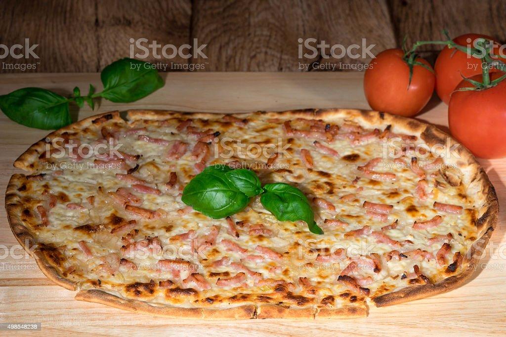 Traditional tarte flambe stock photo