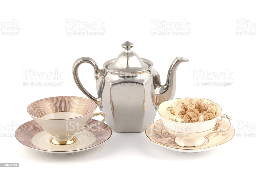 Traditional Teacup and Teapot royalty-free stock photo