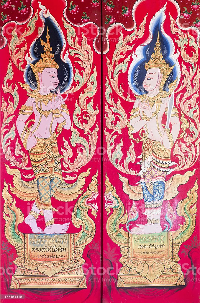 traditional thai art of painting in thailand temple royalty-free stock photo