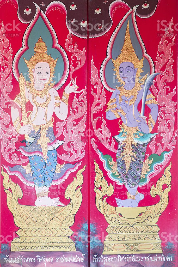 traditional thai art painting of temple royalty-free stock photo