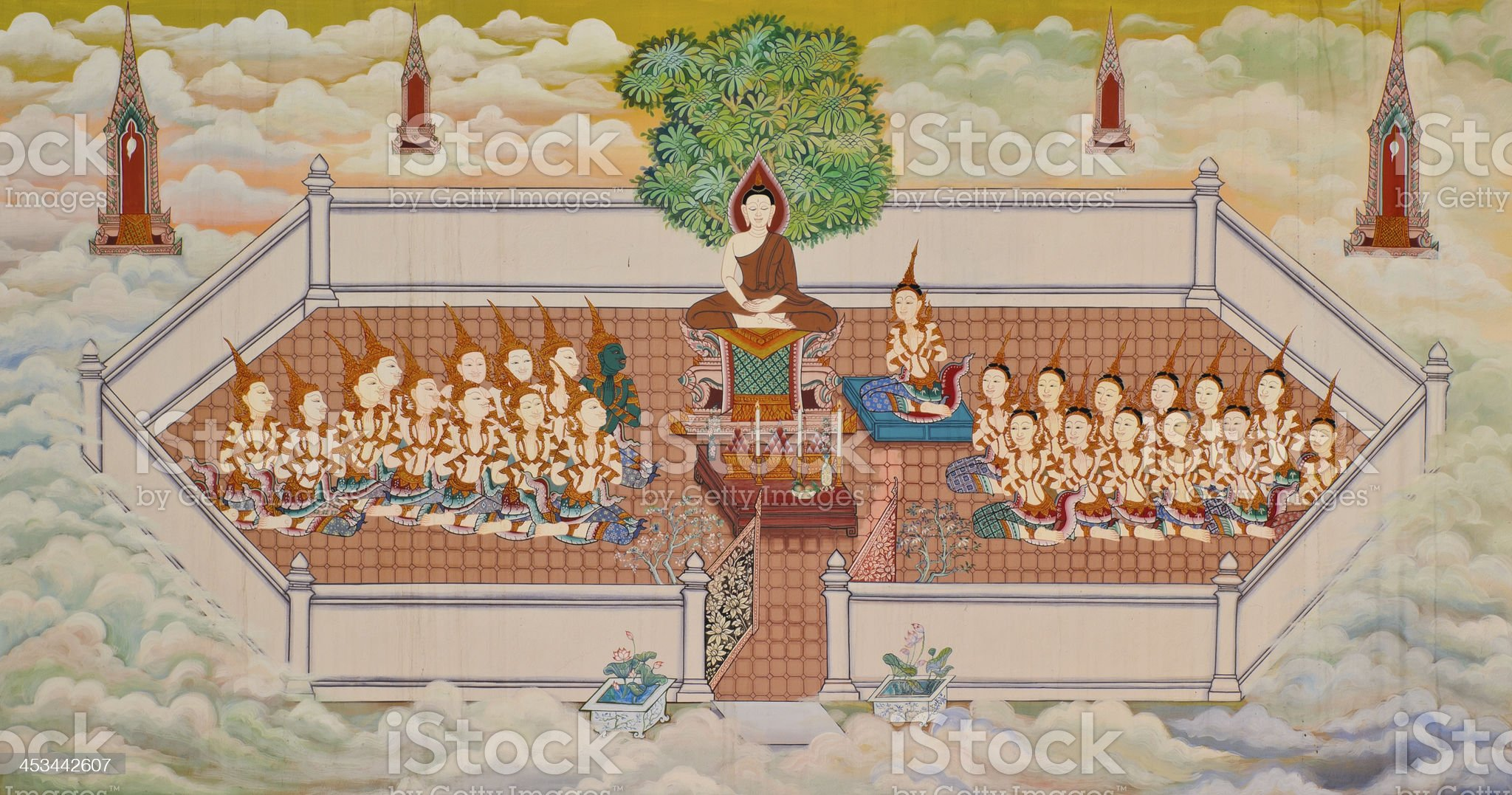 Traditional Thai Buddhist mural royalty-free stock photo