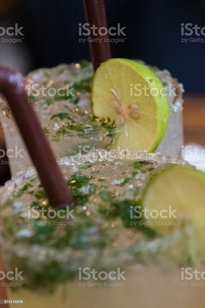 Traditional Thai Cocktail with lemon, sugar,straw stock photo