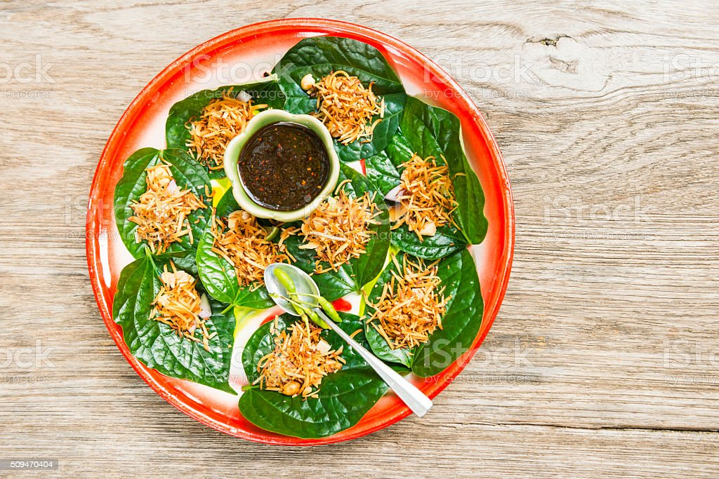 Traditional Thai Cuisine Miang Kham Appetizer Asian Food stock photo