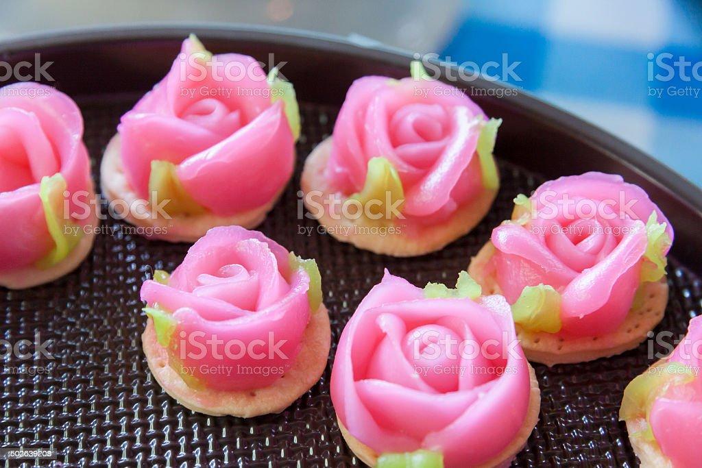 Traditional Thai dessert in rose shape stock photo