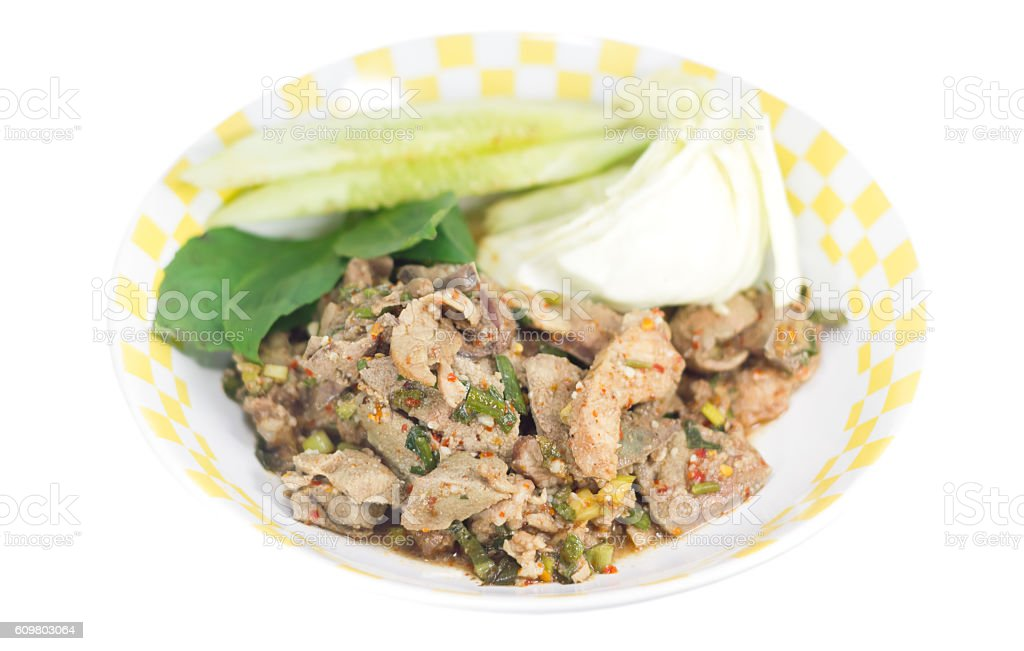 Traditional thai food grilled pork spicy salad stock photo