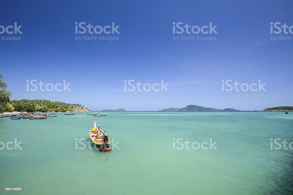 Traditional Thai Long tail fisherman boat stock photo