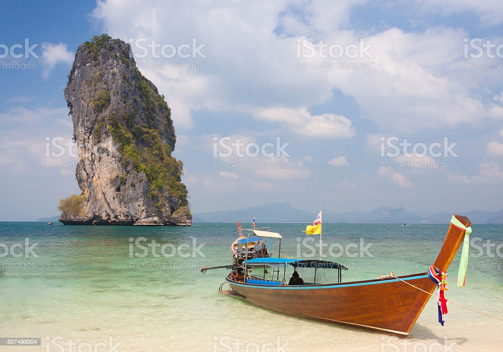 Traditional thai longtail boat stock photo