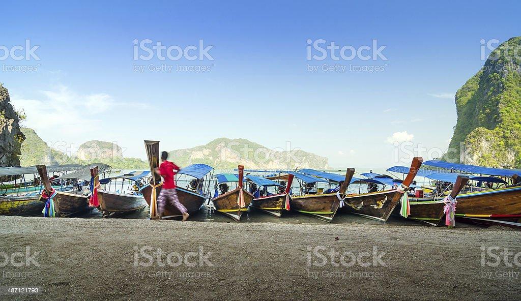 Traditional Thai Longtail boats at James Bond Island stock photo