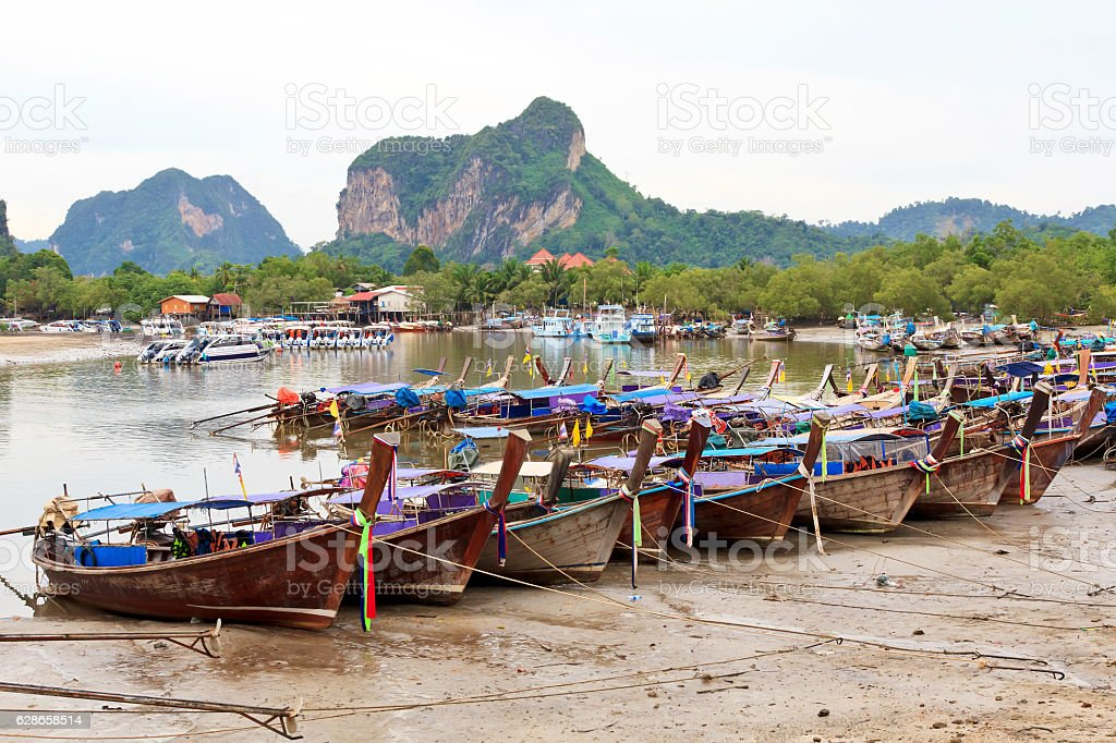 Traditional Thai longtail boats stock photo