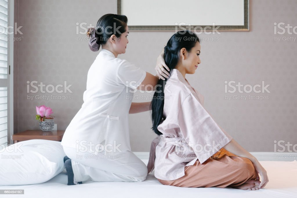 Traditional thai massage stock photo