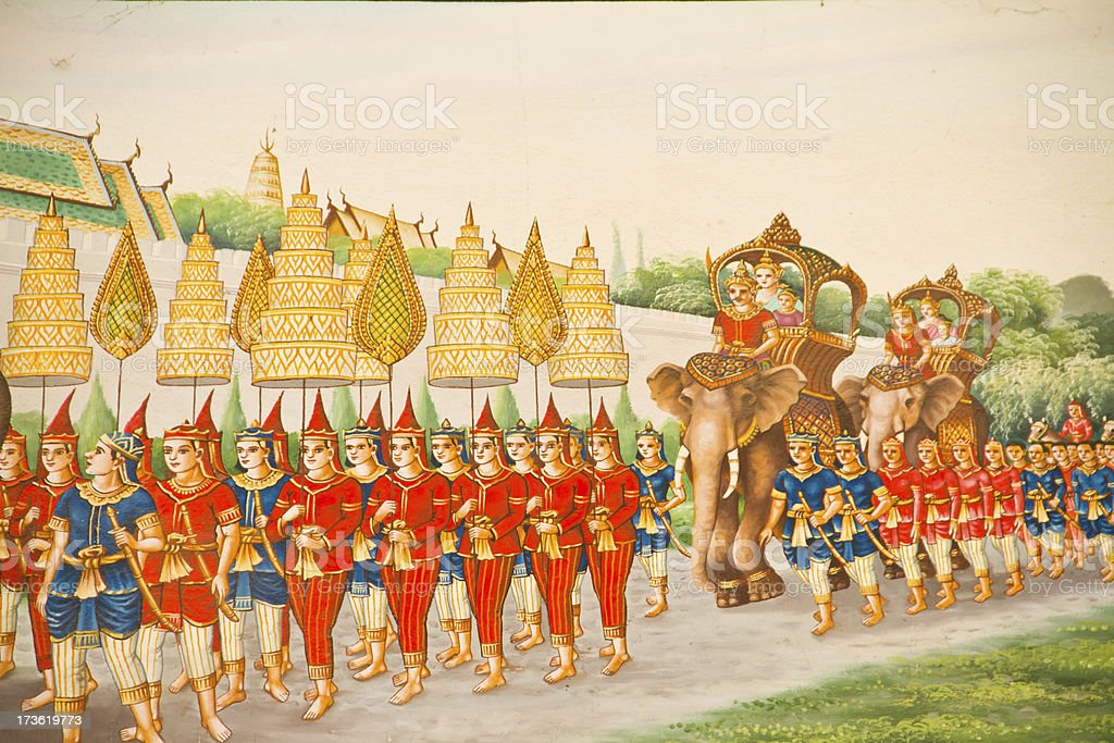 Traditional Thai mural painting the Life of Buddha royalty-free stock photo