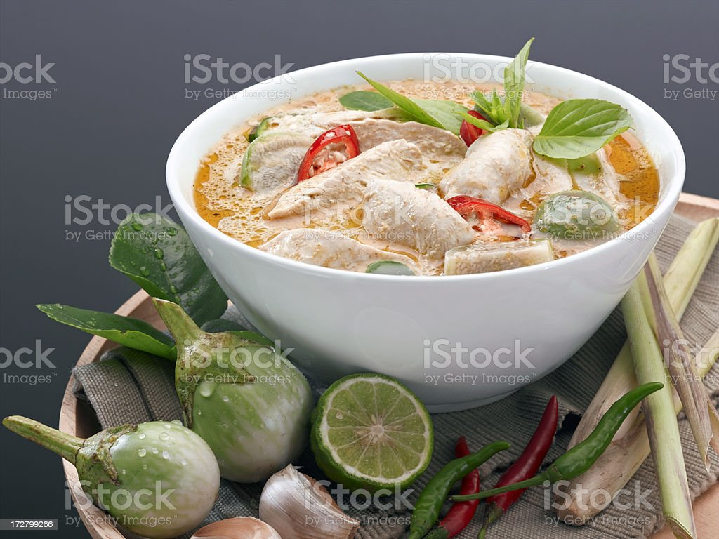 Traditional Thai Red Curry Soup royalty-free stock photo