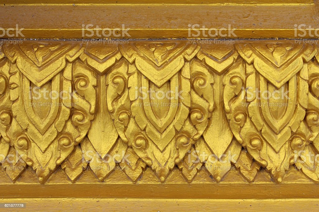 Traditional thai style carve, temple of thailand. stock photo