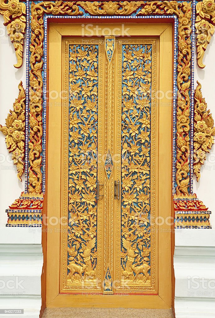 Traditional Thai style chruch door stock photo