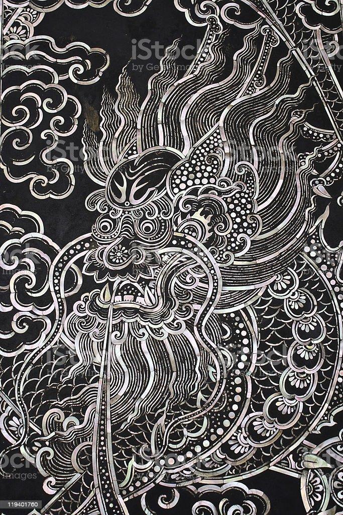 Traditional Thai style church door art royalty-free stock photo