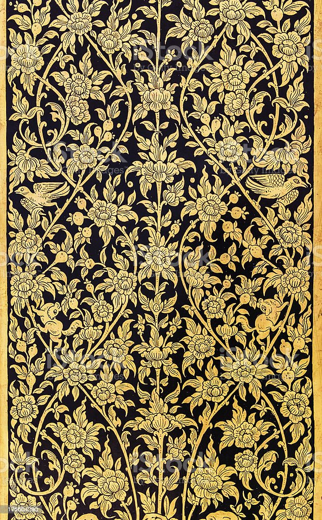 Traditional Thai Style Painting in Gold Color stock photo