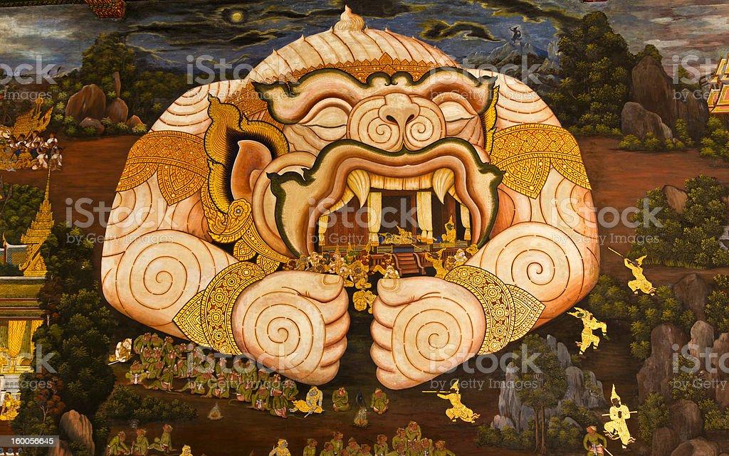Pittura tradizionale stile thai foto stock royalty-free