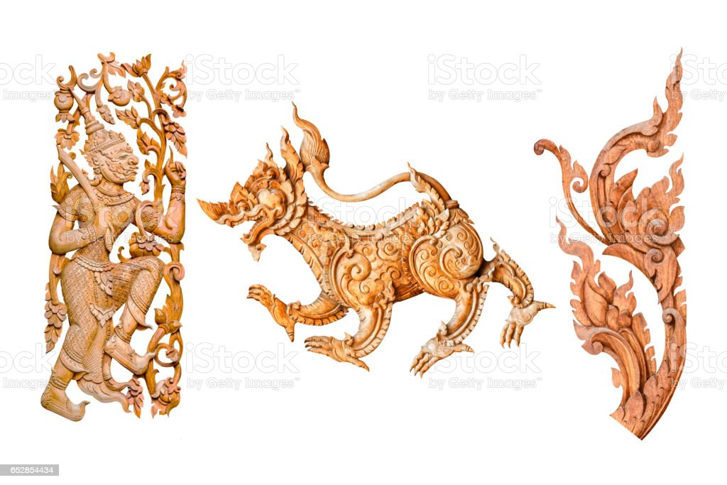 Traditional thai style pattern lion or singha and king of giant, flower wood carve on white background stock photo