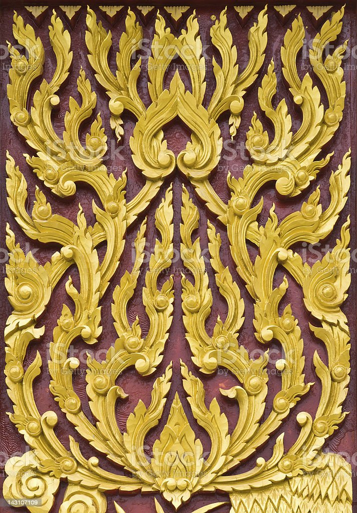 Traditional Thai style pattern wall royalty-free stock photo