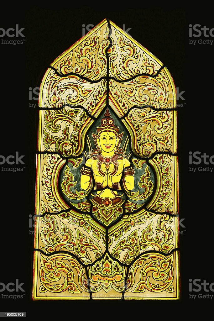 Traditional Thai Style Stained Glass stock photo