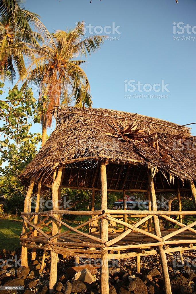 Traditional thatched fale stock photo
