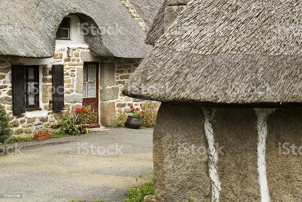 Traditional thatched houses in Brittany France royalty-free stock photo