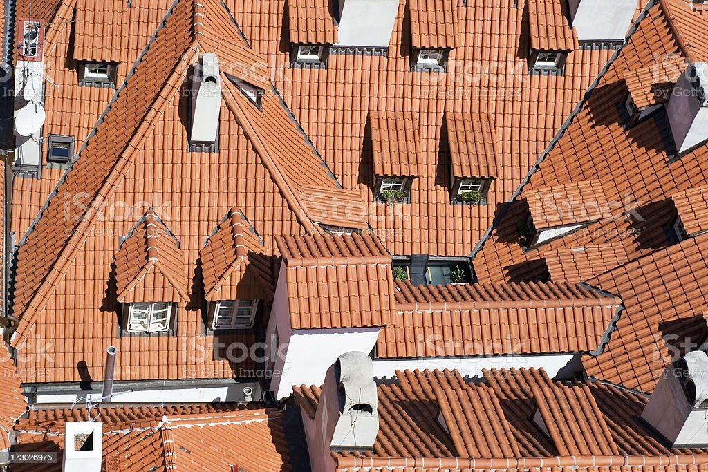 Traditional tile roofs of Prague royalty-free stock photo