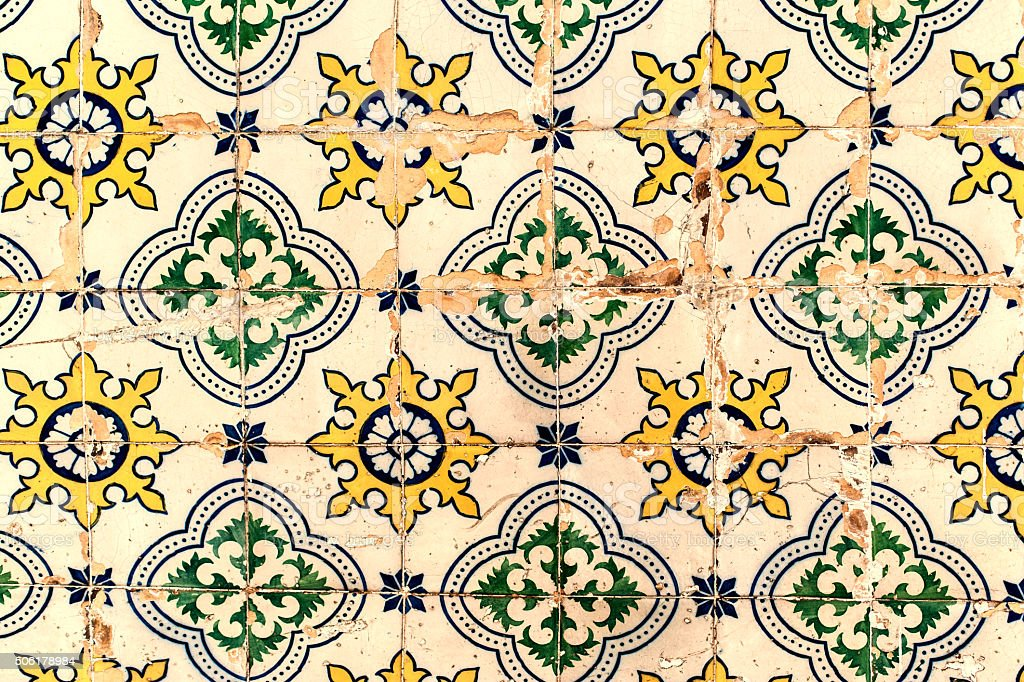 Traditional tiles azulejos Lisbon, Portugal stock photo