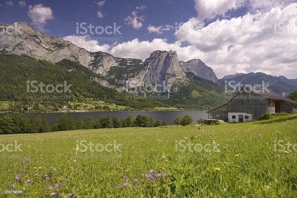 Traditional timbered Barn, Lake Grundlsee, Austria royalty-free stock photo
