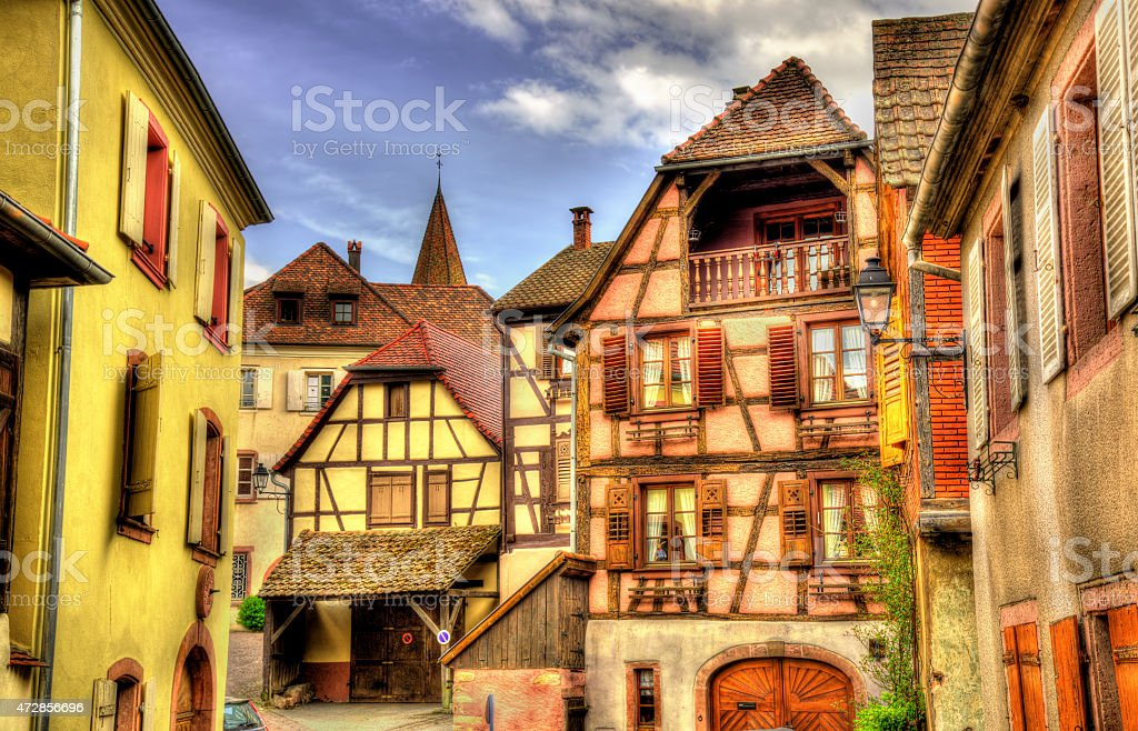 Traditional timbered buildings in Hunawihr - Alsace, France stock photo