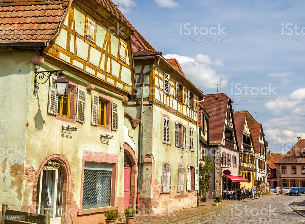 Traditional timbered houses in Bergheim - Alsace, France stock photo