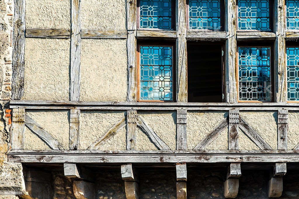 Traditional timbered wall with window from Perouges french medieval village stock photo