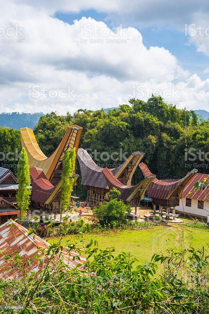 Traditional Toraja village in idyllic landscape stock photo