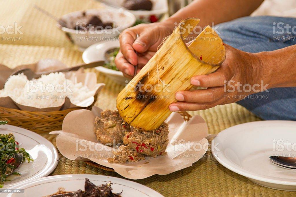 Traditional Toroja food stock photo